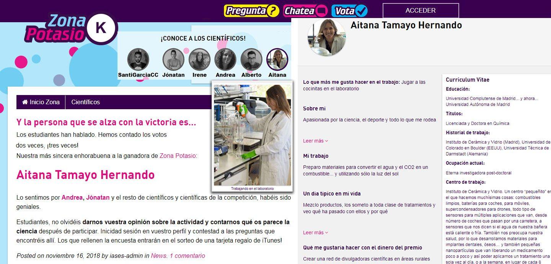 Aitana Tamayo ganadora del concurso de divulgación «Somos Científicos»